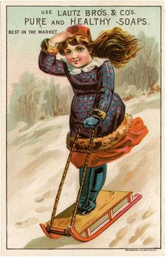 Vintage Girl Sledding Image! - The Graphics Fairy