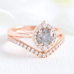 Tiara Halo Bridal Set w/ Grey Diamond and Curved Diamond Band Grey Diamond Engagement Ring, Gold Diamond Wedding Band, Diamond Bands, Halo Diamond, Solitaire Engagement, Bridal Bands, Bridal Sets, Wedding Bands, Wedding Stuff