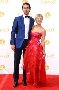Ryan Sweeting & Kaley Cuoco-Sweeting from 2014 Emmys: Menswear  Clearly Ryan also got the bow tie memo, styling his black version with a bright blue tuxedo jacket.