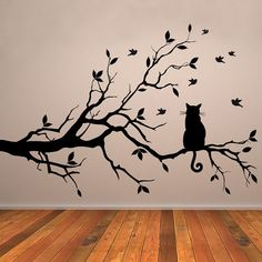 Our Cat on a Branch Wall Decal with Birds is a great option for kids room and baby nursery decor.  This is a cute cat on a branch wall decal