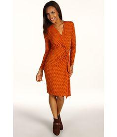 MICHAEL Michael Kors Durham Chain Print L/S Wrap Dress Orange Spice - 6pm.com