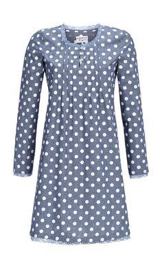 Damen Nachthemd langarm Nachtwäsche Farbe: jeans-melange blau Größen: 36 - 48: Amazon.de: Bekleidung