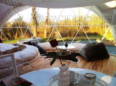 This Interior shot of one of our 24' Shelter #Domes contains the best accessory of all, A floating bed!