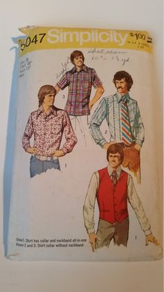 Vintage 1972 Simplicity Sewing Pattern 5047 Men's vest and