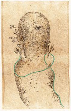 Grivemune, 'Aux racines, aux épines', Drawing on tea bag