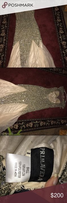 Primavera Prom Dress ** HEMLINE CUT FOR 5'2 ** Worn once for prom and cleaned after. Beaded primavera dress.OFFERS WILL BE CONSIDERED Dresses Prom