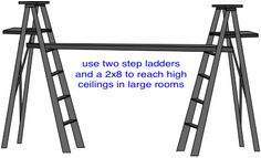 ladders and lumber scaffolding for painting a high ceiling