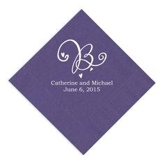 Purple Personalized Napkin | #exclusivelyweddings | #purplereceptionaccessory | #purplewedding