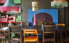 Berni's dining area has a colourful mix of inherited furniture and vintage IKEA