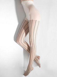 Sheer Luxe Grid Pantyhose.