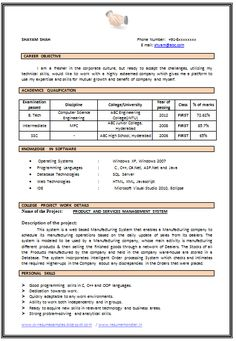 sample template of b tech computer science fresher resume sample with excellent job profile and career - Mca Resume Format For Freshers