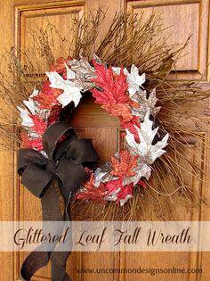 creating a glittered leaf fall wreath, crafts, seasonal holiday decor, wreaths, Glittered fall leaf Wreath Wreath Crafts, Diy Wreath, Wreath Ideas, Wreath Making, Grapevine Wreath, Diy Halloween Decorations, Halloween Crafts, Halloween Door, Fall Decorations