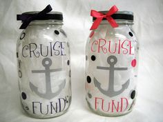 piggy banks | Custom Cruise Fund Mason Jar Coin Bank by TheTwistedSticker