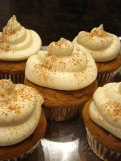 Pumpkin cupcakes recipe with maple cream cheese frosting.