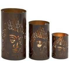 Buddha Pillar Candle Holder 3-piece Set ($54) ❤ liked on Polyvore featuring home, home decor, candles & candleholders, brown, buddha candle, colored candles, buddha home decor, set of 3 pillar candle holders and brown candles