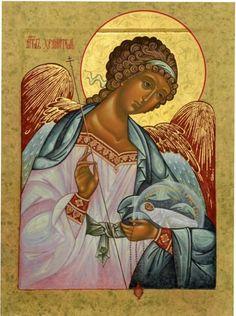 Guardian Angel with Child, Orthodox Christian Icon Byzantine Icons, Byzantine Art, Religious Icons, Religious Art, Angel Drawing, Russian Icons, Russian Style, Orthodox Christianity, Guardian Angels