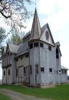 All these structures are barns and silos! Car Barn - De Witt - IL Castle Farm - Charlevoix Co MI Clock Barn - Tuscola Co -. Farm Barn, Old Farm, Interesting Buildings, Beautiful Buildings, Unusual Buildings, Abandoned Houses, Old Houses, Farm Houses, Abandoned Places