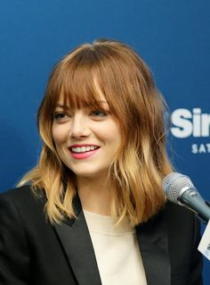 Emma Stone Gets Bangs; Goes Ombré // not helping my growing desire to chop my hair off......