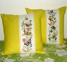 Бабочки на цветах (№2389) - Подушки - Aurora Borealis