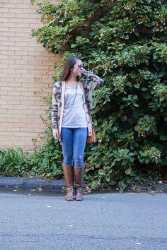 Sunglasses: #rayban (erika in violet); T: @gap; Multi Strand Tassel Necklace: @loft; Geometric Knit Oversized Cardigan: @macys (Maison Jules); Jeans: @oldnavy (rockstar); Riding Boots: #charlesdavid from @ruelala