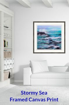 Stormy Sea with Breaking Waves Framed Print by Sabina Von Arx Framed Canvas Prints, Canvas Frame, Oia Santorini, Volcanic Rock, Stormy Sea, Mixed Media Painting, Greek Islands, Fine Art America, Greece