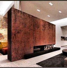#fernandoleonespacios #salon #diseño #loft #iron #corten #fireplace #arquitectura #chimenea #interior #natural #pedreguer