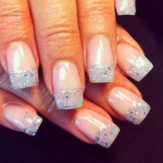Natural sparkle tip nails