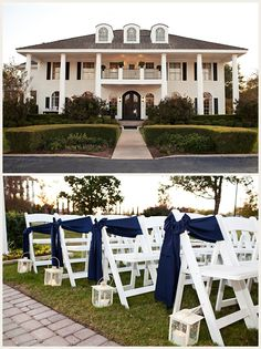 Love the ribbons on the outside chair, plain and simple. Alternating colors Navy and Coral!