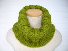 Chunky Knit Cowl Scarf in Lemongrass