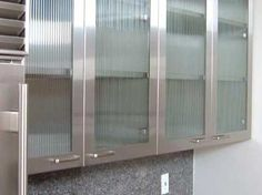 Stainless Steel And Glass Upper Kitchen Cabinets
