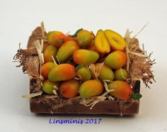 12th Scale Miniature ** Crate of Mangoes **...IGMA Fellow #Linsminis
