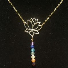 Gold Lotus Necklace with Semi Precious Chakra by HaoleGirlHaikuZen, $48.00