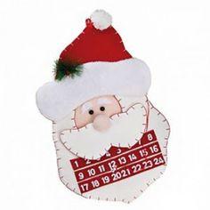 Calendrier de l'avent père noël - feutrine Parfait pour permettre aux enfants de patienter jusqu'à Noël !