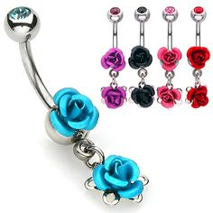 Double Metal Rose Navel Ring with Gem Ball