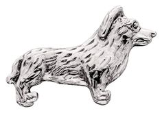 Corgi Silver Dog Charm Refrigerator Magnet Figurine Welsh
