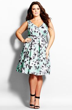 City Chic Rose Jacquard Fit & Flare Dress (Plus Size)