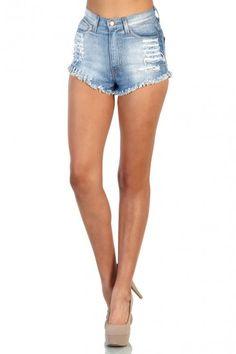 High Waisted Denim Shorts - Blue