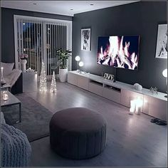 home decor Cozy living room dark wall gray taupe black light sofa wooden floor Dark Walls Living Room, Living Room Decor Cozy, Living Room Modern, Home Living Room, Apartment Living, Interior Design Living Room, Living Room Designs, Design Bedroom, Dark Wooden Floor Living Room