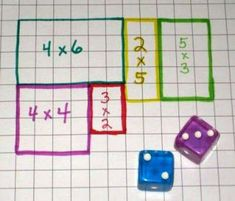 array/multiplication math game: Roll the dice and draw the area array on your own grid - first to fill it wins. Or 2 players choose a different coloured pen each, use one grid and the player who cannot complete the last array is the loser. Math Resources, Math Activities, Math Multiplication, 4th Grade Math, Grade 3, Third Grade Math Games, Math Workshop, Homeschool Math, Homeschooling
