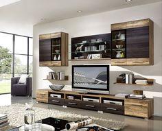 wohnwand holz dunkel, wohnwand mit sideboard weiss hochglanz / sonoma eiche dunkel woody, Design ideen
