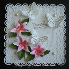 Selma's Stamping Corner and Floral Designs: Remembering - pink and white and green #Butterfly