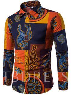 8dd066aa712 Lapel Linen Ethnic Print Luxury Men s Dress Shirt