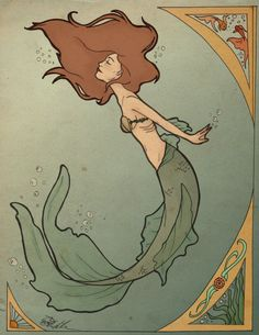 art nouveau posters | Art Nouveau Mermaid by ~SerenityMonkala on deviantART