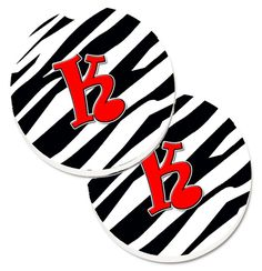 Monogram Initial K Zebra Red Set of 2 Cup Holder Car Coasters CJ1024-KCARC