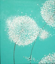 "Abstract painting ""Little Hopes"" dandelion art, abstract art Swarovski crystals & glitter 24x40 turquoise mint original abstract painting. $229.00, via Etsy."