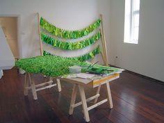 Method as Outcome Grass Factory Production Line 2008 Mark Parfitt  Fremantle Arts Centre Grass Paper Performance Sculpture Installation