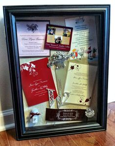 Create a shadow box of your save the date, bridal shower, wedding, rehearsal invitations & wedding program along with other little momentos such as favors
