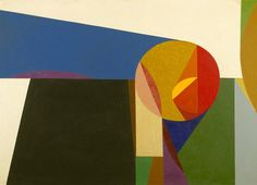 """Frederick Hammersley, Shapescape, 1958. Oil on linen.  He expanded his repertoire beyond hard-edge, dividing his art into three categories: """"hunches"""", """"geometrics"""", and """"organics"""".[7]"""