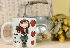 """Tazza Mug """"Passion"""" in ceramica con decorazioni realizzate a mano di telasimona su Etsy"""