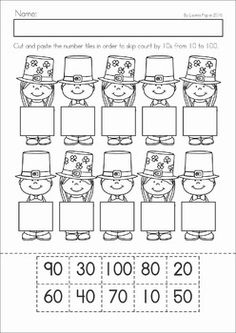 Kindergarten St. Patrick's Day Math & Literacy No Prep packet. A page from the unit: skip counting by 10s cut and paste